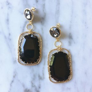 Shiny Glass Earrings Black