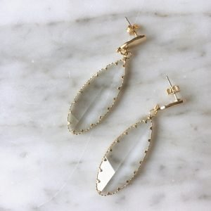 Long Leaf Glass Earrings