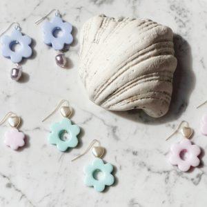 Pearly Heart Flower Earrings